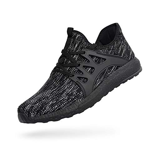 QANSI Men's Casual Shoes Fashion Sneakers Fly Knittted Flexible Athletic Sports Running Gym Shoes Gray/Black Size 10.5 (Best Indoor Gym Shoes)