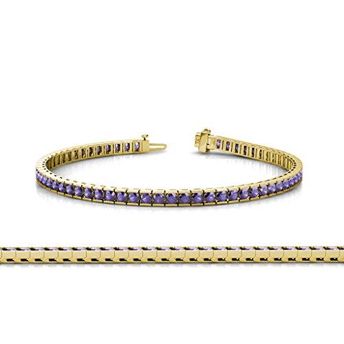 - TriJewels Iolite 2mm Channel Set Tennis Bracelet 2.43 ct tw in 14K Yellow Gold