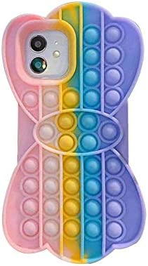 Simple Push Pop Pop Fidget Case (6.1 inches) for iPhone 12/12 Pro-Silicone Squeeze Sensory EDC Toy, Stress Relief and Anti-Anxiety Cover for Girls, Boys, Men, Women