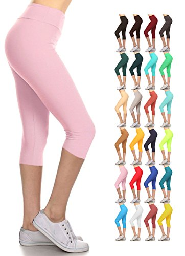 0d735424577b Leggings Depot Women's Yoga Gym High Waist Reg/Plus Solid and Printed  Workout Capri Leggings