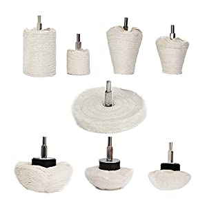 TONGTU Buffing Polishing Mop Wheel With 1/4'' Handle White Flannelette -8Pack For Manifold/Aluminum / Stainless Steel/Chrome 8pcs