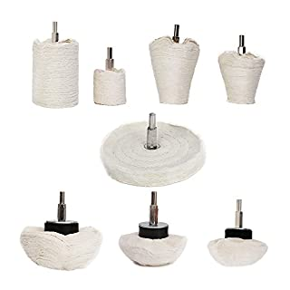 Buffing Wheel For Drill - 8Pcs Polishing Wheel Cone/Column/Mushroom/T-shaped Wheel Grinding Head With 1/4 Handle For Manifold / aluminum / stainless steel / chrome etc.