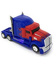 Kidsthrill Truck Toy 2 in 1 Truck | Realistic Robot - Bump and Go Action - Sounds & Colorful Lights - Blue and Red Color Combo - Compact Measurements - for Girls and Boys