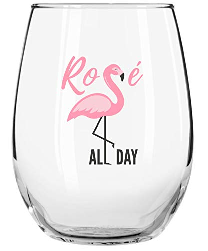 Drinking Divas 'Rosé All Day' - Stemless Wine Glass | Funny Gifts for Women | Bachelorette Party, Birthday, Mothers Day, Christmas Gift Ideas | For Mom, Best Friend, Sister, Aunt, Girlfriend, Wife
