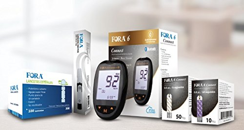 FORA 6 Connect Blood Ketone and Glucose Testing Meter Kit, Monitor your ketogenic diet, 1 Lancing Device, 100 Lancets, 10 Ketone Test Strips, 50 Glucose Test Strips.