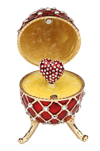 Red Faberge Style Egg Music Box - Pewter Figurine, Music Box, Swarovski CrystalsLimited Edition Collectible -