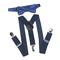 ELENKER Kids Baby Elastic Adjustable Suspenders and Pre Tied Bowtie