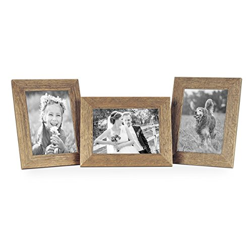 Set of 3 Picture Frames with Dimensions of 5 x 7 Inch, Beach-House Style, Rustic, Oak, Natural Solid Wood with Glass Insert
