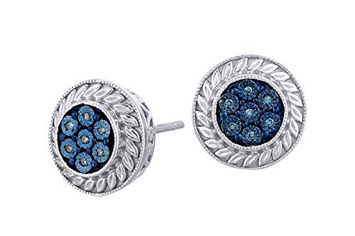 Aria Jewels Blue Diamond Accent Round Stud Big Look Earrings 14K White Gold Over Sterling Silver For Women