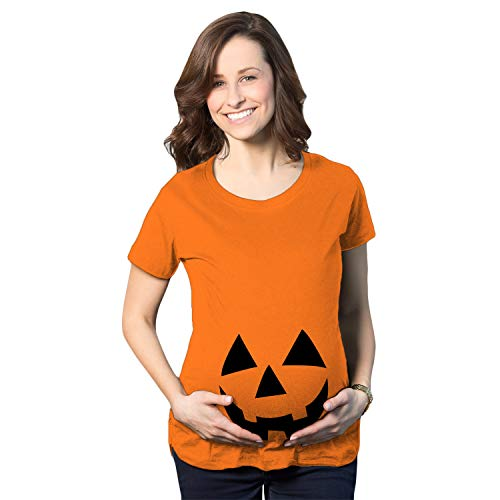 Maternity Happy JackoLantern Pregnancy Tshirt Cute Halloween Baby Bump Tee (Orange) - M]()
