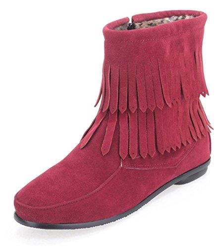 YE Damen Wildleder Flach Damen Stiefeletten mit 2 Schichten Fransen Reißverschluss Bequeme Herbst-Winter Schuhe Rot