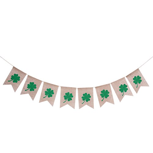 (Tinksky St Patrick's Day Decorations,St.Patrick's Day Banner Irish Shamrock Burlap)