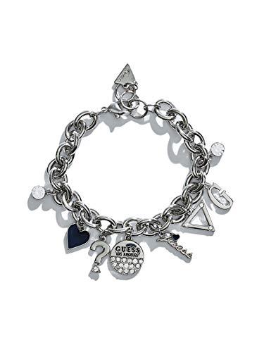 GUESS Factory Women's Silver-Tone Chainlink Charm Bracelet (Tone Link Silver Chain)