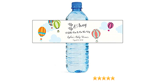 Hot Air Balloon Water Bottle Labels Peel and Stick Waterproof Labels Personalized Printed Wrappers for Baby Shower or First Birthday