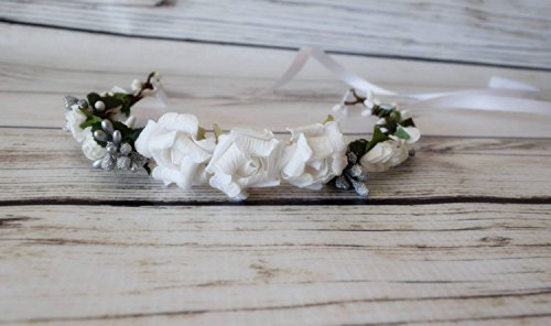 Hand Crafted White and Silver Flower Crown - Rose Flower Crown - Wedding Flower Crown - Medieval Flower Crown - Renaissance Costume - Adult