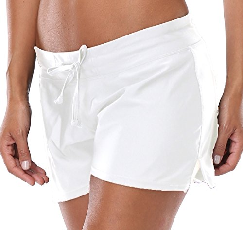 Charmleaks Swim short Swimwear Women Broad Shorts Swim Shorts For Women, Large, White