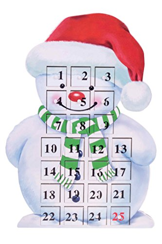 (Clever Creations 24 Day Snowman Advent Calendar Countdown to Christmas | Painted Wood with Numbers | 100% Wood Construction | Unique Holiday Decoration | Measures 9.75