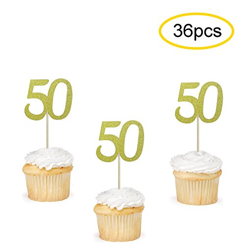 50 Cupcake Toppers Gold | 50th Birthday Cupcake Toppers Picks | 50th Anniversary Party Supplies | Set of ()