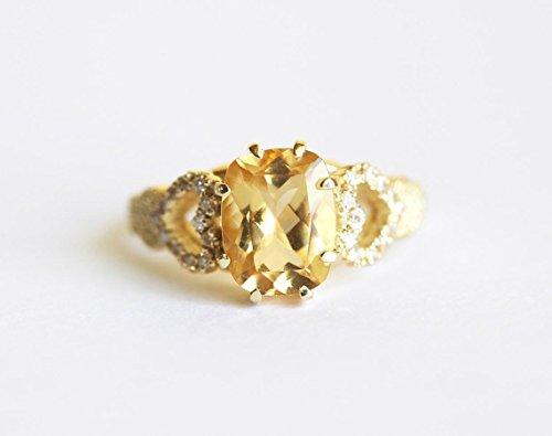 Yellow Golden Beryl Engagement Ring, Heart Diamond Engagement Ring, Beryl Diamond Ring, Yellow Gold Engagement Ring