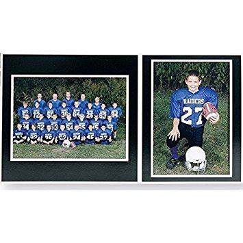 (Team/Player 10x8/5x7 MEMORY MATES Black cardstock double photo frame sold in 10's - 8x10)