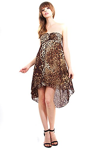 cheetah print strapless dress - 9