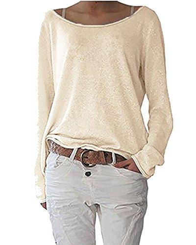 Femmes Casual Vrac Lache Chemise Manches Longues Coton T-Shirt Top Blouse Pull Shirt Sweats Abricot