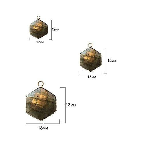 (4 Pcs Labradorite Hexagon 12mm by BESTINBEADS I Hexagon Bezel I Hexagon Pendant Stone I 4 Pcs Labradorite Hexagon Pendant I Hexagon Pendant Silver I Bezels Connectors)
