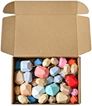 Multi Color Wooden Building Blocks Set,Natural Wood Toy, Rainbow Wooden Stones Stacking Game Rock Blocks