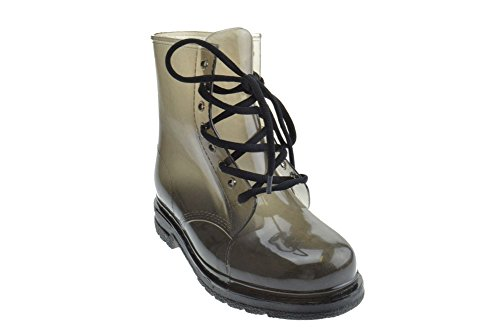 W 502 Womens Clear Lace Up Mid Calf Combat Boots Black WzpRUwY6w