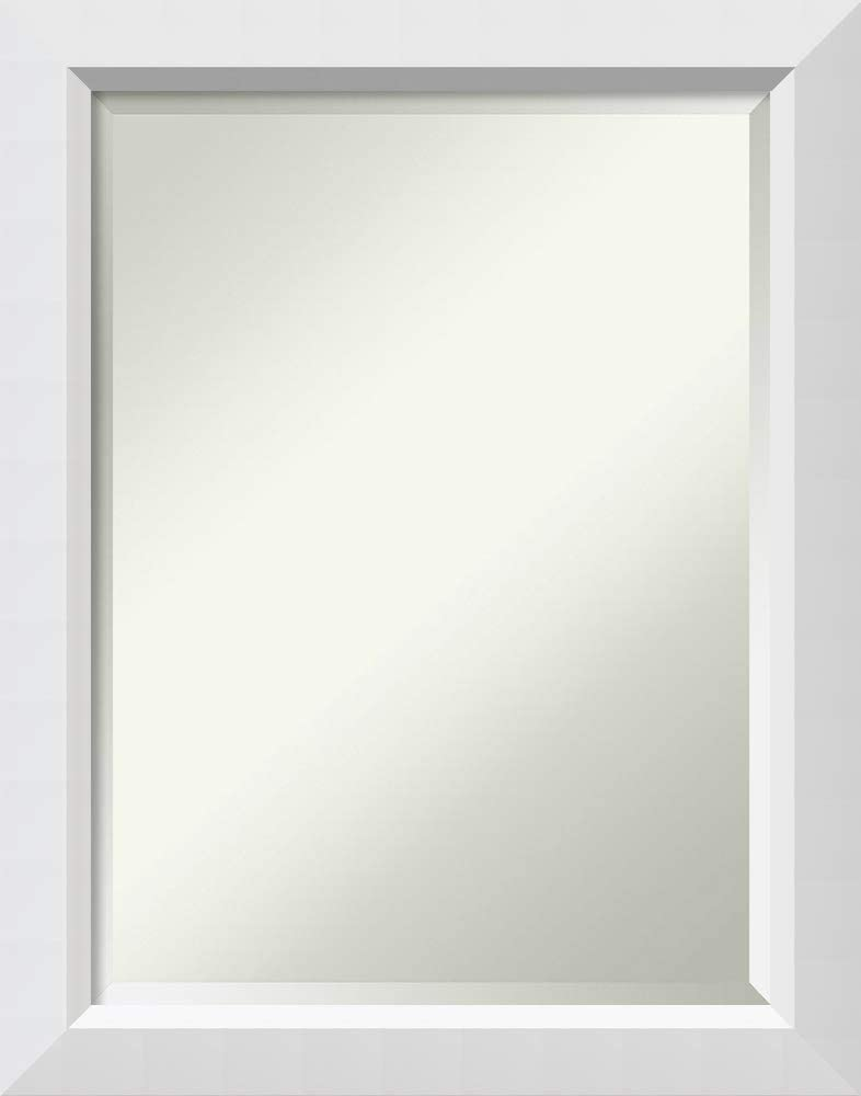 Amanti Art Framed Vanity Mirror Bathroom Mirrors for Wall Blanco White Mirror Frame Solid Wood Mirror Medium Mirror 28.00 x 22.00