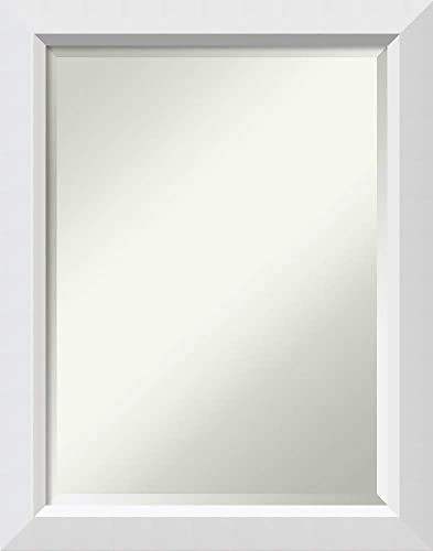 Amanti Art Framed Vanity Mirror Bathroom Mirrors for Wall Blanco White Mirror Frame Solid Wood Mirror Medium Mirror 28.00 x 22.00