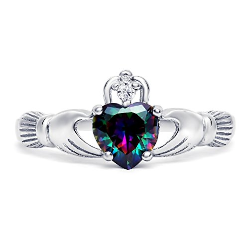 Sterling Silver Simulated Mystic Rainbow Topaz Claddagh Promise Ring For Her, 8mm (9)