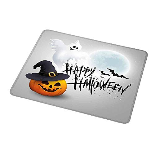 Art Mousepad Halloween,Happy Celebration Typography Stained Look Cute Ghost Pumpkin Hat Print,White Black Orange,Customized Rectangle Non-Slip Rubber Mousepad 9.8