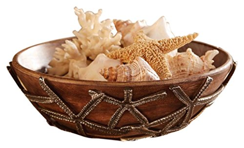 Mud Pie 4601026 Starfish Wood Serving Bowl, Brown