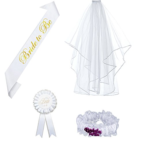 4 Pieces Bride to be Decoration Set for Bachelorette Party Supply Including Bride To Be Satin Sash, White Double Ribbon Edge Center Cascade Bridal Wedding Veil with Comb,Rosette Badge and - White Plains Center Shopping