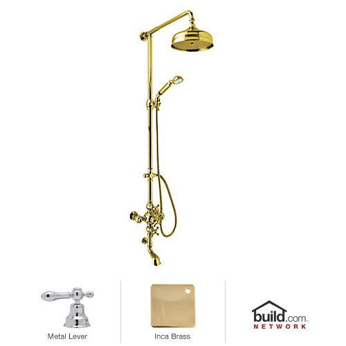 - Rohl AC414L-IB Cisal Shower System with Exposed Thermostatic Valve, Shower Head, Inca Brass