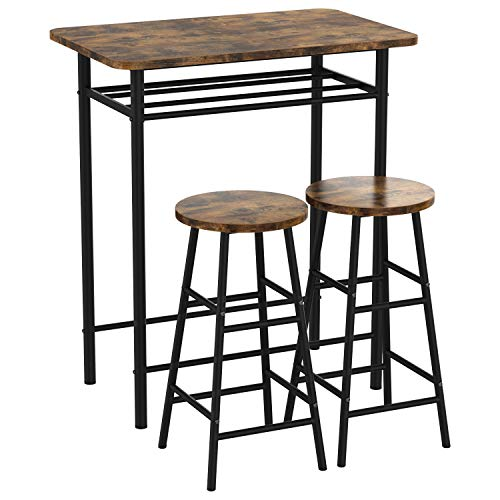 IRONCK 3-Piece Pub Bar Table Set, Industrial High Top Table Set Kitchen Dining Bar Table with 2 Bar Stools Chair, Easy Assemble, Industrial Style, Rustic Brown