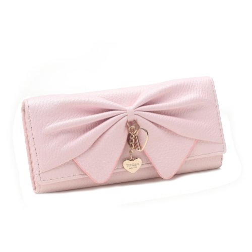 Damara Women Long Faux Leather Bifold Large Bow Design Wallet Handbag, Pink ()