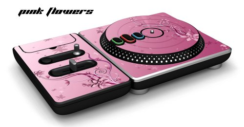 New DJ Hero Turntable Controller Designer Skin, Fits Xbox 360, Playstation 2 & 3 - Pink Flowers