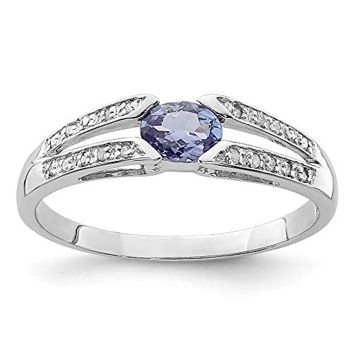 (925 Sterling Silver Blue Tanzanite Diamond Band Ring Size 7.00 Stone Gemstone Fine Jewelry Gifts For Women For Her)