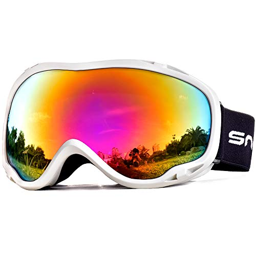HUBO SPORTS OTG Ski Snowboard Goggles for Men Women Adult,Skiing Goggles with UV Protection of Dual Lens with Anti Fog (WBPRed)
