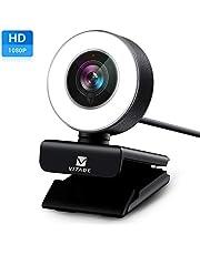 Vitade Webcam 1080P Full HD mit Mikrofon und Ringlicht, Pro Computer PC USB Kamera Facecam für Streaming Video Chat Aufnahme, Mac Windows Laptop Konferenz Spiele Skype OBS Twitch YouTube Xsplit