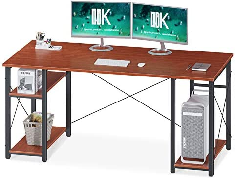 "ODK Home Office Desk with Shelves, 60"" Tower Computer Desk, Stable Writing Table with Double Shelf, Teak"