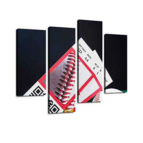 Baseball Night Game Ticket stubs in Outfield Grass with Ball Canvas Wall Art Hanging Paintings Modern Artwork Abstract Picture Prints Home Decoration Gift Unique Designed Framed 4 Panel ()
