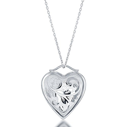 - Sterling Silver Floral Design High-Polish Heart Locket 18
