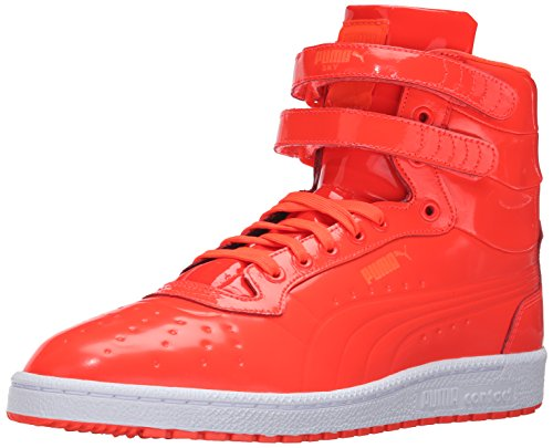 Patent Men Sneakers - PUMA Men's Sky ii hi Patent Emboss Fashion Sneaker, Red Blast, 10 M US