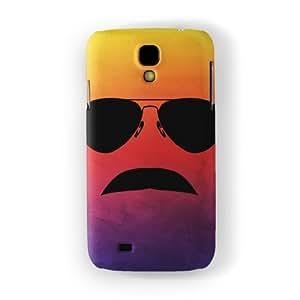 80s Moustache Funda Completa de Alta Calidad con Impresión 3D, Snap-On, Diseño Negro Formato Duro parar Samsung® Galaxy S4 de DevilleArt