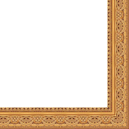 12x36 - 12 x 36 Antique Gold Solid Wood Frame with UV Framer's Acrylic & Foam Board Backing - Great For a Photo, Poster, Painting, Document, or Mirror ()