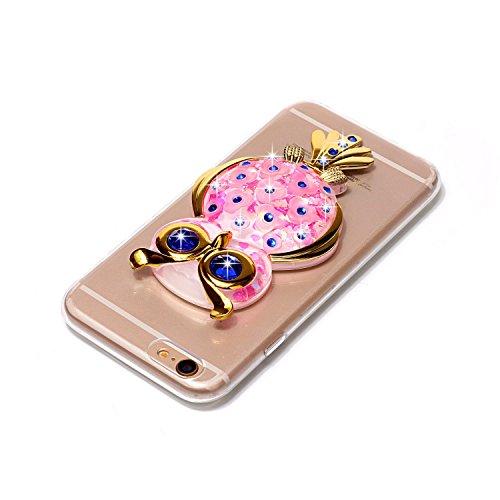 Funda iPhone 6S, Carcasa iPhone 6, Caselover 3D Bling Silicona TPU Búho Carcasas para iPhone 6S / 6 Glitter Líquido Arena Movediza Protección Caso Sparkle Brillar Cristal Tapa Case Suave Transparente  Búho Rosado