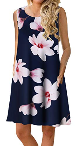Summer Beach Dresses for Women Tshirt Sundresses Boho Casual Sleeveless Floral Shift Pockets Swing Loose Damask Lotus 2X-Large (Women Fashion Dresses Under $20)